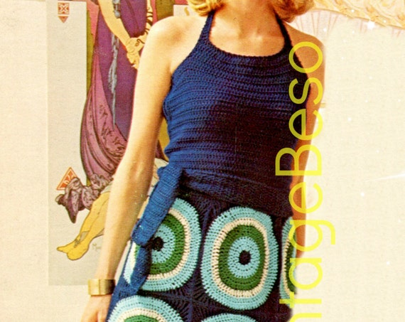 Dress Crochet Pattern 1970s Vintage Ladies Halter + Skirt • Watermarked PDF Only