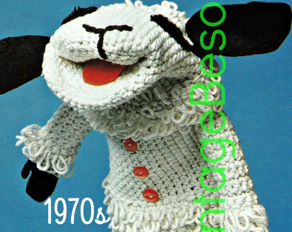 Puppet Knitting Pattern + Puppet Crochet Pattern • Vintage 1970s Lamb Chop Hand Puppets • Mittens • Watermarked PDF Only