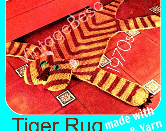 INSTANT DOWNlOAD • PdF Pattern • TIGER Crochet PATTERN Vintage 70s Cat Crochet Pattern Wild Animal Bohemian Home Decor Rug Pattern