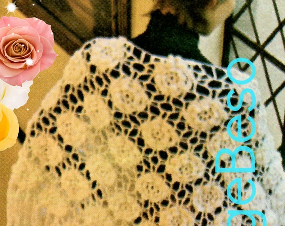 SHAWL Crochet Pattern • Ladies Flower Shawl • Giant Rose Pattern • Triangle Shawl • Watermarked PDF Only