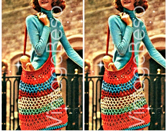 Vintage Crochet Pattern • Stretchy Tote BAG • EASY 1970s Big and Roomy All Purpose Tote Bag • Instant Download • PDF Pattern