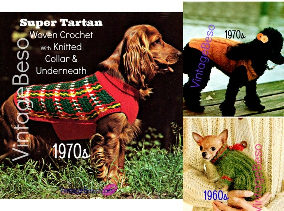Three (3) Dog KNITTING Patterns • INSTANT Download • PDF Patterns • Dog Sweater Dog Jacket Dog Coat 1970s Knit Tartan Cable Chihuahua