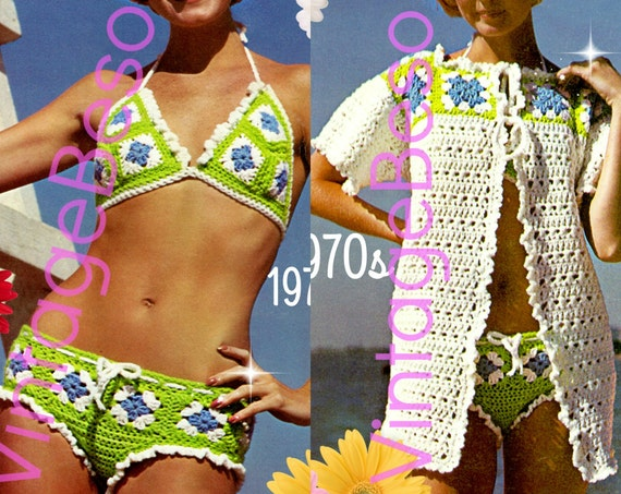 EASY and QUICK to Make • Bikini Crochet + Granny Square CoverUp Jacket Pattern • 1970s Vintage • Boho Summer Top • Watermarked PDF Only