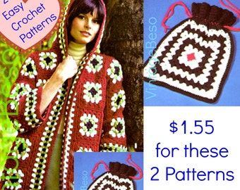 Hooded Jacket Crochet PATTERN • 1970s Coat • Granny Square Sweater • Hippie Sweater + Tote Bag • Hippie Jacket • Watermarked PDF Only