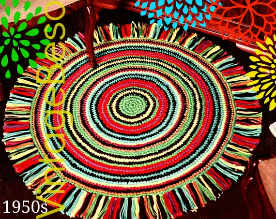 EASY Rug Crochet PATTERN Vintage 1950s Fringed Round Rug • Retro • Whip Up in sc • Vintage Beso • Fringe Area Rug • Watermarked PDF Only