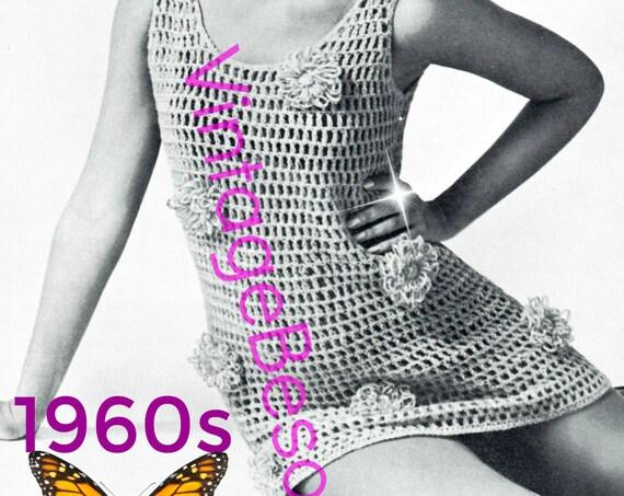 """Flower Dress Crochet Pattern • Easy CoverUp Minidress • Vintage Crochet Pattern • 70s Mini Dress • Groovy • Women's Bust 32.5 to 38"""" • PDF"""