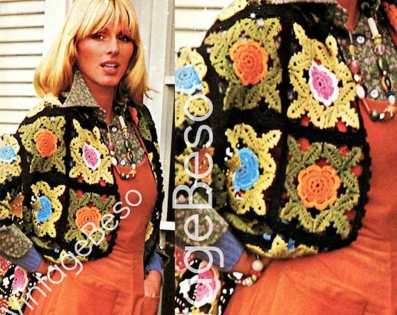 Shawl Crochet Pattern • INSTANT DOWNlOAD • PdF Pattern • Vintage 1970s Moss Rose Crochet Pattern • Feminine Gorgeous Granny Squares