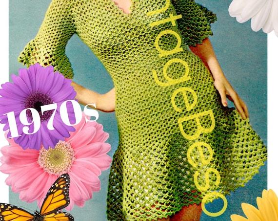 Ladies Dress Crochet Pattern • PdF Pattern • Sexy Modern Ruffle Dress Crochet Pattern • Made with the Super Fun SHELL Stitch • Vintage 1970s