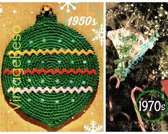2 Christmas Crochet Patterns: Ball Potholder + EASY Tree Ornament Favors CROCHET Pattern • Classic Christmas • Gift Wrapping Decorations