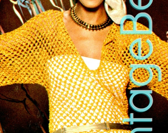 Gold Filet Mesh Tunic Crochet Pattern • 1970s Vintage Top • FREE Pattern • Boa sexy top glitter free gift POPULAR • Instant Download • PdF