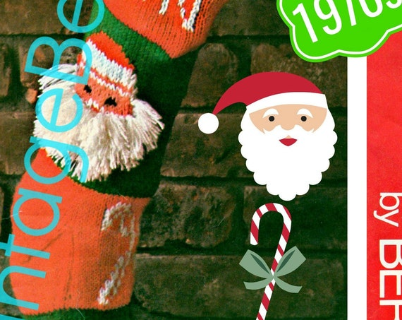 Instant Download • RARE Jolly Whiskers Santa • Stocking Knitting Pattern • Classic Christmas • STOCKING Pattern • Bernat • PDF • 1970s Retro