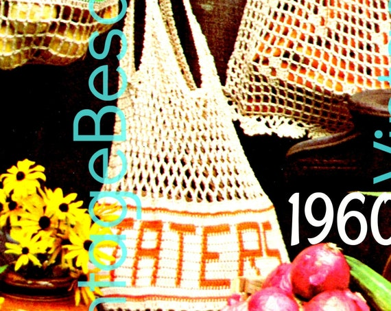 3 Bags CROCHET PATTERN • Retro 70s Mesh Produce Market Bags for Potatoes Onions Carrots • Vintage Pattern Food Bags • Watermarked PDF Only