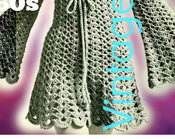 JULIET Dress Crochet Pattern • Ladies Lace Dress • Vintage 1960s • Sizes 8 10 12 14 16 18 • Sweet and Sassy Dress • Watermarked PDF Only