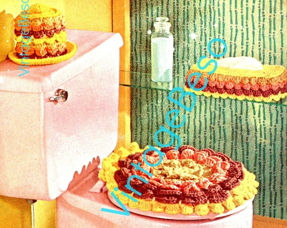 4 piece Bathroom Set Crochet PATTERN Vintage 1960s Gay Petal brighten any bathroom restroom Rug Seat Cover Tp Cover • Watermarked PDF Only