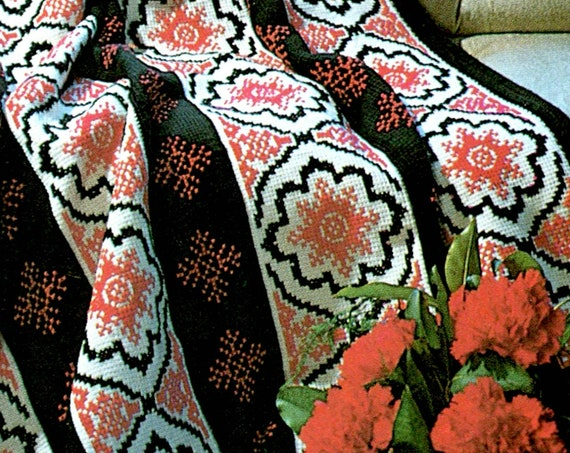 Spanish Motif Afghan Crochet PATTERN • INSTANT DOWNlOAD • PdF • Vintage Afghan Pattern • 1970s  pattern uses Afghan Stitch with Afghan Hook
