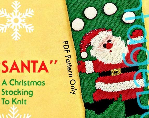 Juggling Santa Stocking Knitting Pattern • Classic Christmas Knitting Pattern • Bucilla • PDF Only • 1960s Vintage Knit Pattern • Free Gift