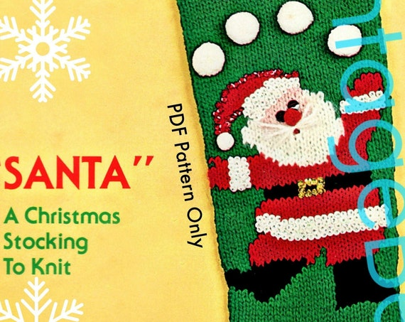 Instant Download • Juggling Santa Stocking Knitting Pattern • Classic Christmas • Bucilla • PDF Only • 60s Vintage Knit Pattern • Free Gift