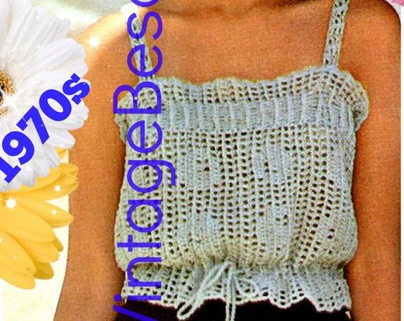 DIGITAL PATTERN • Ladies Camisole Crochet Pattern • PdF Pattern • Mesh Filet Top • Vintage 1970s Summer Top • Sizes S M L XL