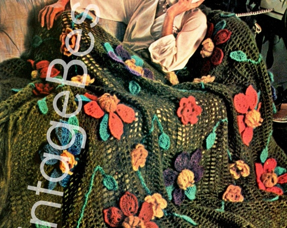 AMAZINGLY EASY Crochet • Afghan Crochet Pattern • Vintage 1970s • Water Lily Floral Afghan • Flower Pattern • Watermarked PDF Only