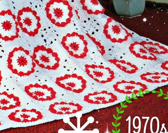 Christmas Afghan CROCHET Pattern • 1970s Afghan Christmas Pattern • holiday home decor • Vintage Crochet Pattern • PDF • Digital Download