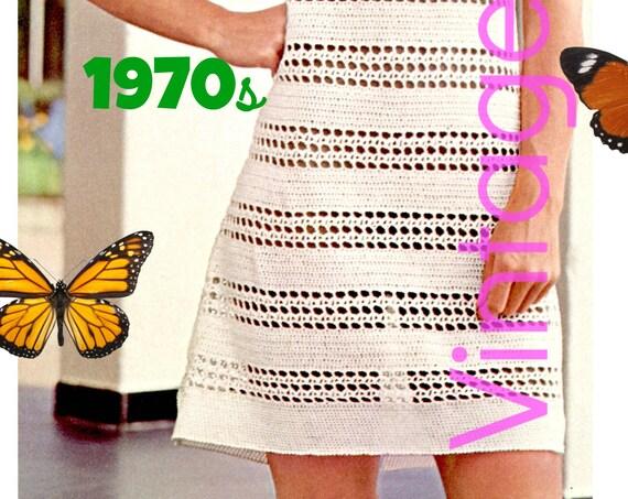 Dress Crochet PATTERN Vintage 70s Flirty Cool Lace Mini Dress Pattern • INSTANT DOWNlOAD • PdF Pattern Boho Dress Lacy Dress Bikini CoverUp