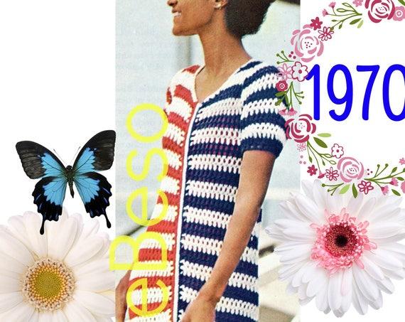 Digital Pattern • Patriotic Maxi Dress CROCHET Pattern • PdF Pattern • 1970s SIMPlE To MAKE • Vintage Ladies Striped CoverUp Dress