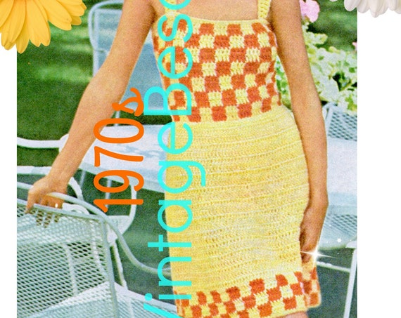 Summer Dress Crochet PATTERN Vintage 1970s • Simple to Make • Ladies Checkered Sun Dress Patio • Watermarked PDF Only