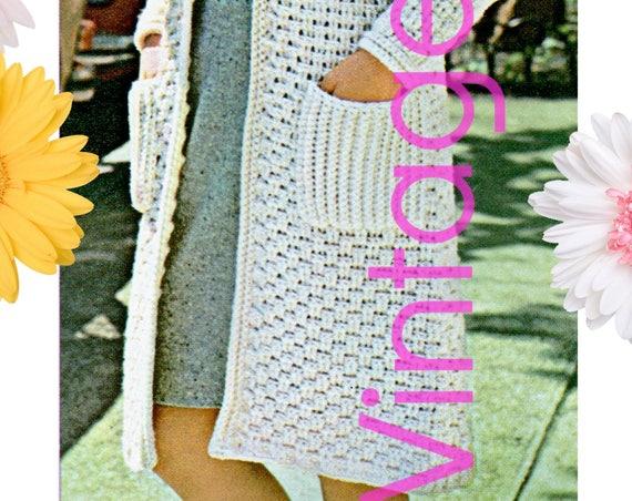 DIGITAL PATTERN • COAT Crochet Pattern • Ladies Long Woven Coat • 1970s Vintage Crochet Pattern • Instant Download • PdF Pattern • Retro