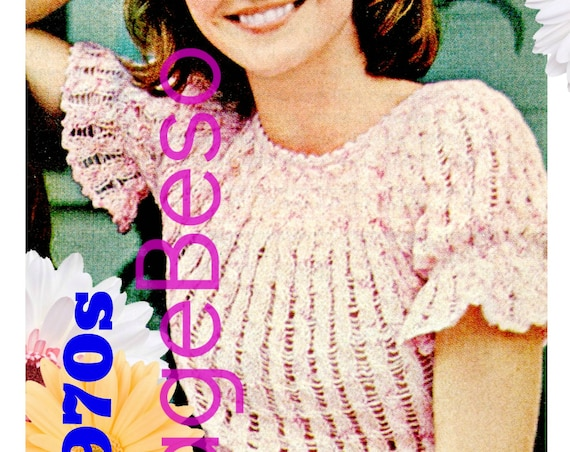 Peplum Top KNITTING PATTERN • Vintage 70s Ladies Puffed Sleeves in Cable Stitch • Feminine Blouse • Watermarked PDF Only
