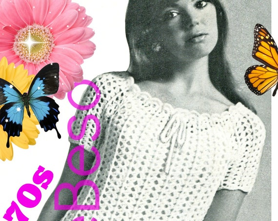 Dress Crochet Pattern • PdF Pattern • Ladies Lightweight Drawstring Mini Dress Vintage 1970s • Sizes 6 8 10 12
