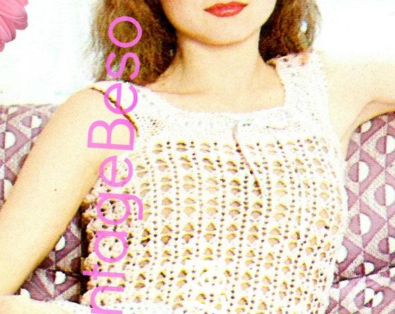 Sexy Top Crochet Pattern 1970s Shell Crochet Pattern Boho Clothing • INSTANT DOWNlOAD • PdF Pattern • Hot Summer Top Pattern Peekaboo