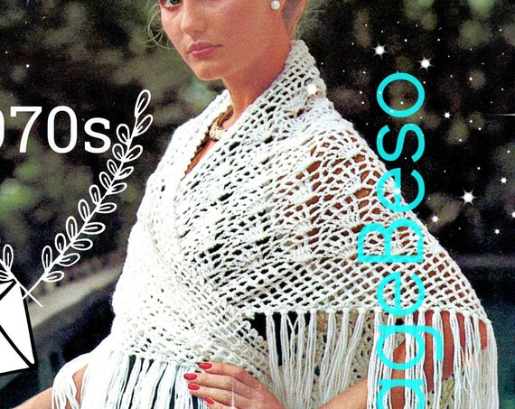 Easy SHAWL Crochet Pattern • Easy to Crochet • Ladies Fan Shaped Motifs • 1970s Vintage Wrap • Greek islands • Watermarked PDF Only