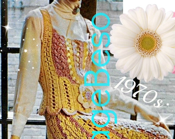 RARE Boho Shell Dress Vintage Crochet PATTERN 70s Victorian Influenced Hard to Find Vest Ladies Flower Wedding Dress • Watermarked PDF Only