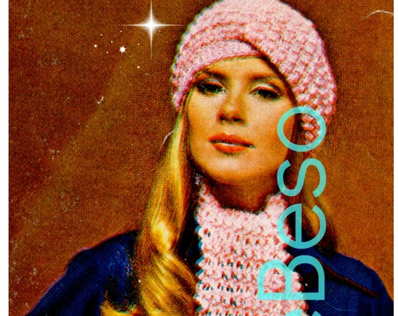 Turban + Scarf Crochet Pattern • 1960s Scarf and Beret • Retro Turban Style Cap Hat Beret • Vintage Crochet Pattern • Watermarked PDF Only