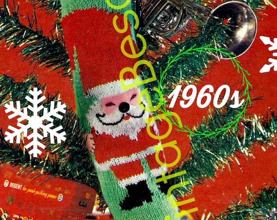 "Instant Download • Vintage 1960's Christmas Knit ""STOCKiNG"" • PDF • UK • Classic Christmas Knitting Pattern • STOCKING Pattern • Retro"