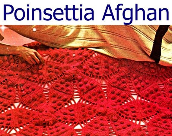 Afghan Crochet PATTERN • Christmas Poinsettia Afghan Crochet Pattern • Vintage 1970s • Heritage AfghanLkciek#8759fhj