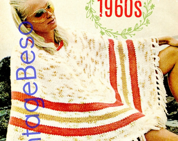 Poncho Knitting PATTERN • Vintage 1960s • Easy Enough for Beginners • Ladies • Summer • Boho • Chic • Hippie • Watermarked PDF Only