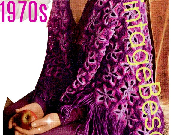 Vintage Shawl Crochet Pattern • 1970s Ladies Crochet Pattern Motifs in the style of granny square • Watermarked PDF Only