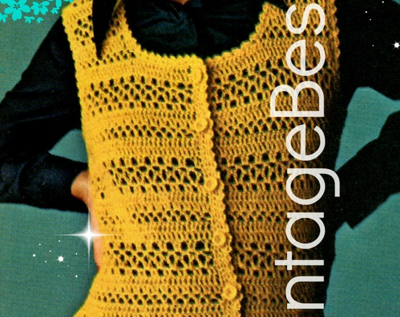 Vest Crochet Pattern • Ladies Light and Lacy Vest which is like the quick working Filet Style • Watermarked PDF Only