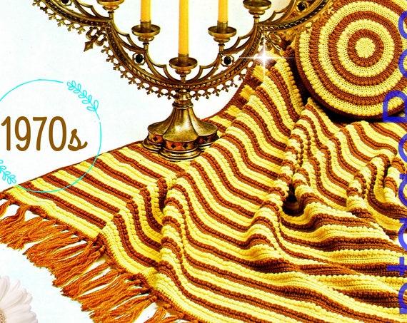Afghan Crochet Pattern + Pillow Crochet Pattern • 1970s Vintage Arpeggio Afghan Stitch Afghan • PDF • Retro Afghan • Instant • Digital