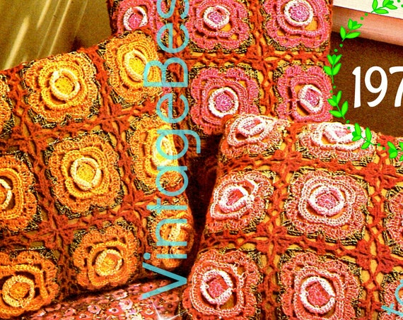 EASY Rose Pillow Crochet Pattern • Retro 70s Trio of Roses Crochet • FLOWER • Bohemian Home Decor • Watermarked PDF Only