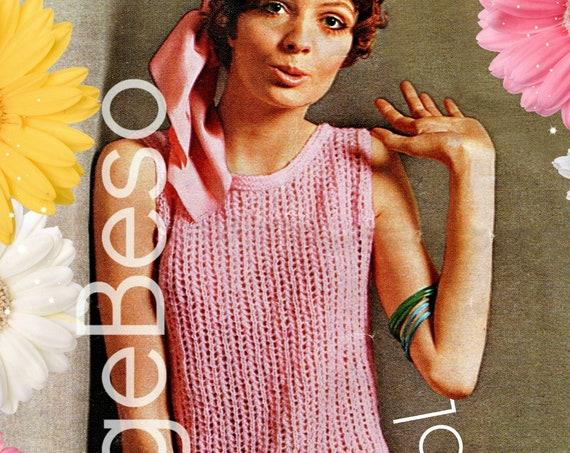 Dress Knitting Pattern • Fun Fast Easy Dress KNITTING Pattern • Vintage 1970s Lacy Shift • Ladies Summer Sleeveless Dress • PdF Pattern •