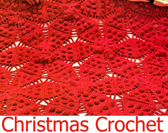 Afghan Crochet PATTERN • Christmas Poinsettia Afghan Crochet Pattern • Vintage 1970s • Poinsettia Afghan • Instant Download • PDF Pattern