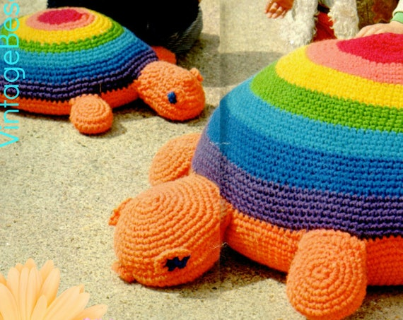 2 Crochet Patterns • 2 EASY Giant Tortoise Floor Cushions • Turtle Patterns • 1970s Vintage Crochet Patterns • Watermarked PDF Only