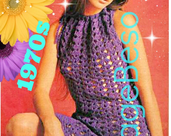 Summer Dress Crochet Pattern • Sexy Pineapple Halter Dress Crochet Pattern • 1970s Vintage Coverup • Ladies Shift • Watermarked PDF Only