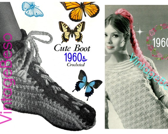 Vintage CROCHET Pattern • Boot Crochet Pattern is a House Slipper to keep toes toasty in cold weather • Instant Download • PdF Pattern