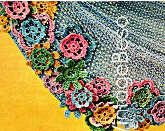 Shawl Crochet Pattern • Fluttery Flower Shawl • 1970s Ladies Vintage Summer Wear • Bouquet on Your Shoulders• Watermarked PDF Only