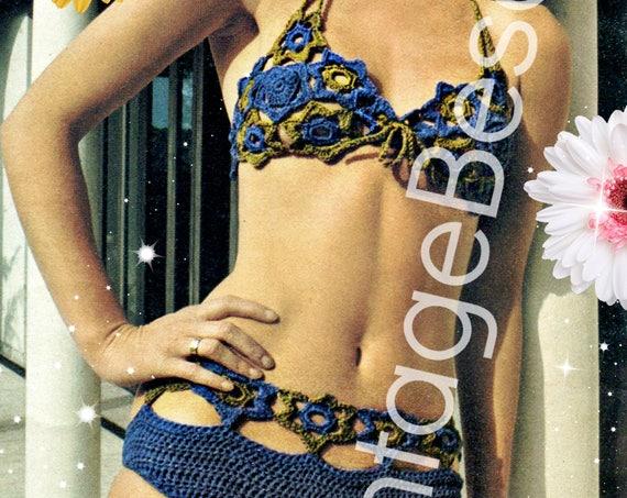Sexy Flower Swimsuit 1970s Vintage CROCHET Pattern • Summer Necessity VintageBeso Ladies Peekaboo Bikini Swimwear • Watermarked PDF Only