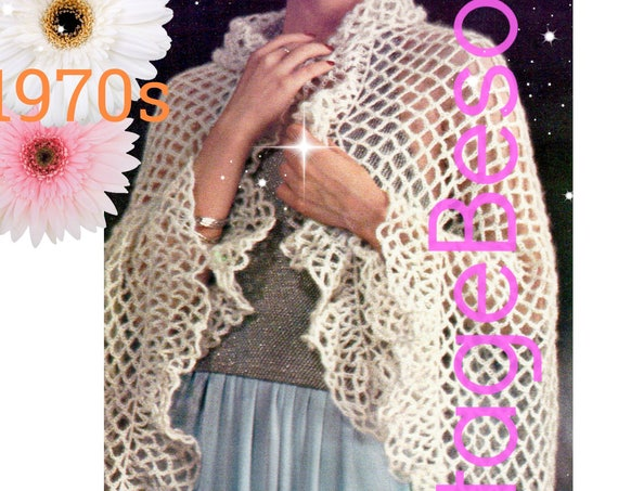 SHAWL Crochet Pattern • Easy to Crochet • Great for Beginners Chain Loops plus Ruffle • Ladies 1970s Vintage Wrap • Watermarked PDF Only