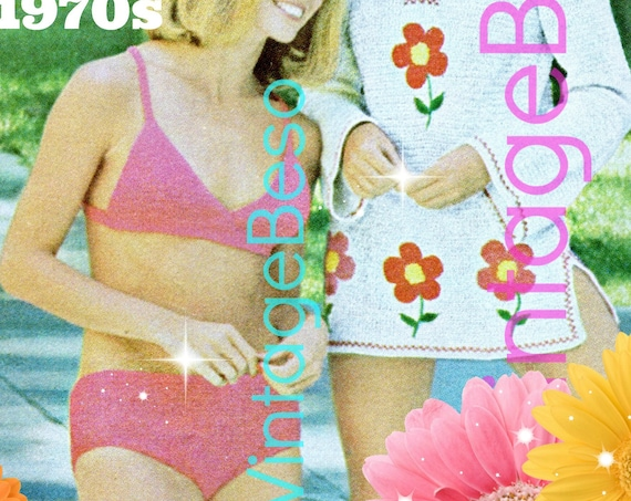 Bikini and Cover Up Crochet Pattern in Single Crochet • 3 Patterns • Sexy Bathing Suit • Shirt • Top • Vintage 1970s • Watermarked PDF Only